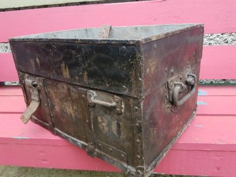 An alluminium ammo box. Missing its lid. E55.00